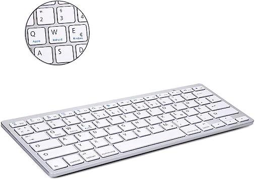 BORIYUAN Teclado inalámbrico ultrafino Bluetooth 3.0 (Qwertz) teclado alemán inalámbrico, compatible con todos los dispositivos iOS, Android, Mac y ...