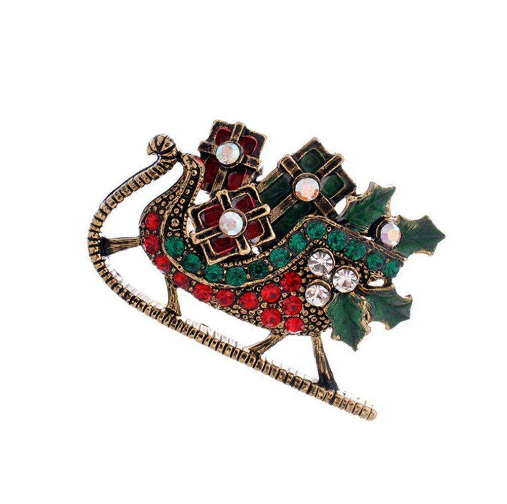 daorier 1× Donna Gioielli Spilla da balia in forma di slitta in cristallo Natale corpetto Brooch di decorazione Abbigliamento Pin Accessori regalo della San Valentino rosso
