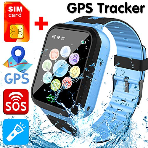 GreaSmart [SIM Card Included] Kids Smart Watch Phone for Girls Boys - IP68 Waterproof GPS Tracker Locator Touch Games SOS Outdoor Digital Wrist Cellphone Watch Bracelet for Holiday Birthday (Blue)