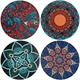 Absorbent Ceramic Stone Coaster Set for Drinks, 4 Pack Large Cup Coffee Mat Bar Coastets with Cork Backing (Mandala x4)