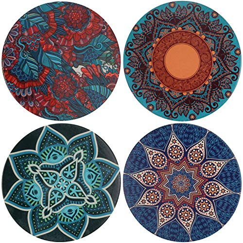 Absorbent Ceramic Stone Coaster for Drinks, 4 Pack Large Cup Coffee Mat Bar Coastets Set with Cork Backing,Prevent Furniture from Dirty and Scratched,4 Diameter(Mandala x4)