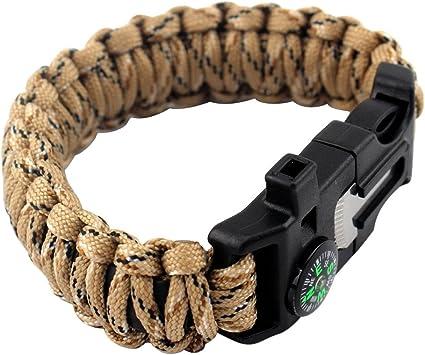 Qté 5-Sifflet Boucle avec Flint Fire Starter Pour Paracord Bracelet Survie et