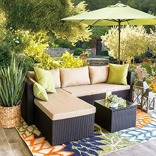 Barton 3-Piece Outdoor Rattan Sectional Sofa Patio Wicker Thick Seat Cushion Water Repellent Ott ...