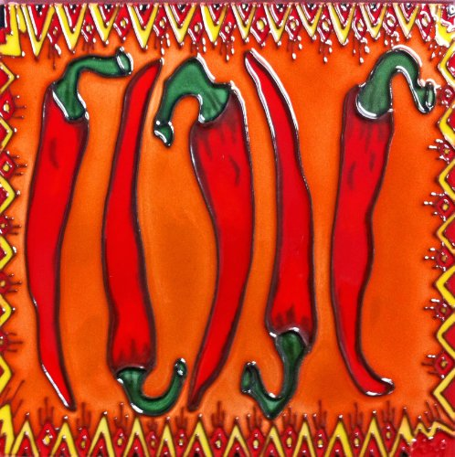 Continental Art Center BD-0713 8 by 8-Inch Framed Red Chilipepper Ceramic Art ()