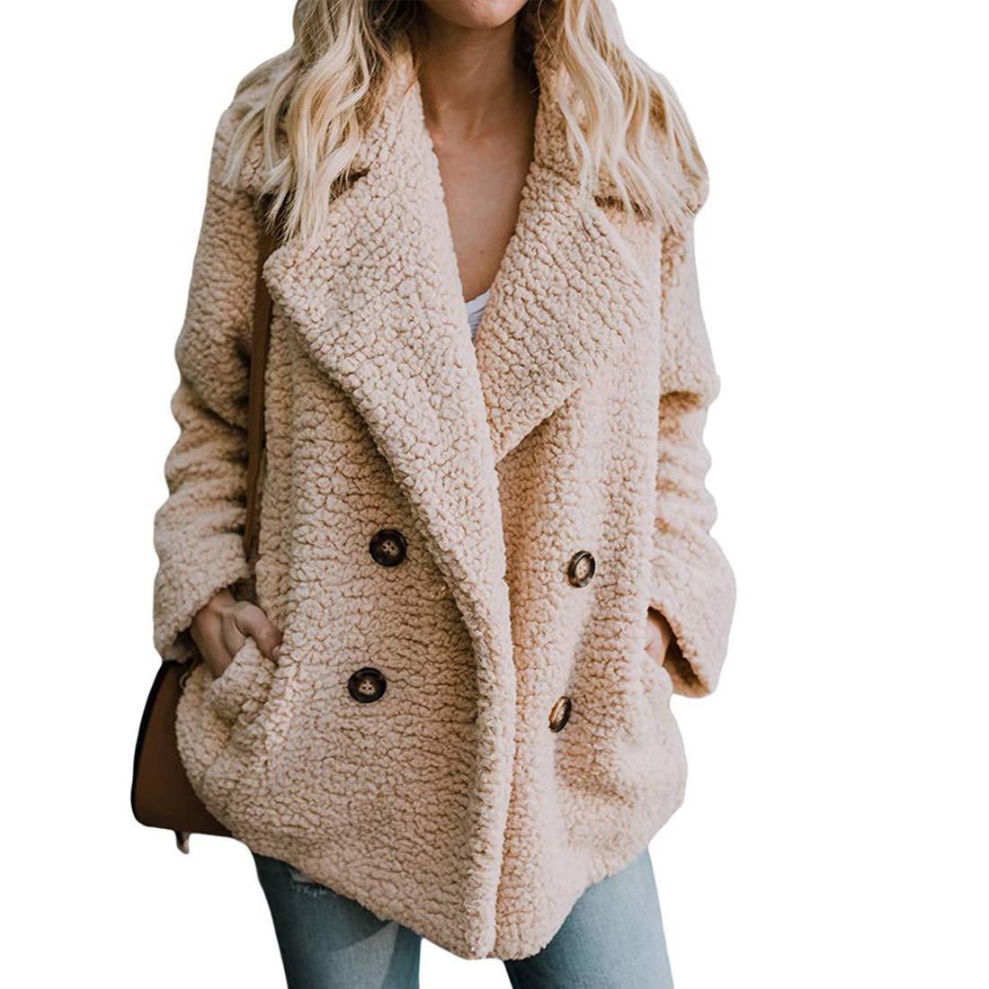 Khaki Bibowa Fuzzy Jacket Women Faux Shearling Soft Lightweight Warm Winter Coats Trendy