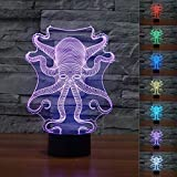 SUPERNIUDB Octopus Shape 3D LED Nightlight 7 Color Control Desk Table Lamp Bedroom Xmas Gift Review