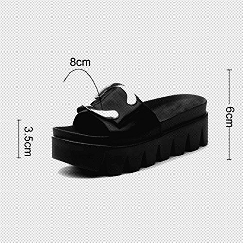 FEI Mules Slipper Lady Summer Fashion Outdoor Sandals Flat Platform Sandals Black White Sandals Casual (Color : Black, Size : EU39/UK6/CN39) White