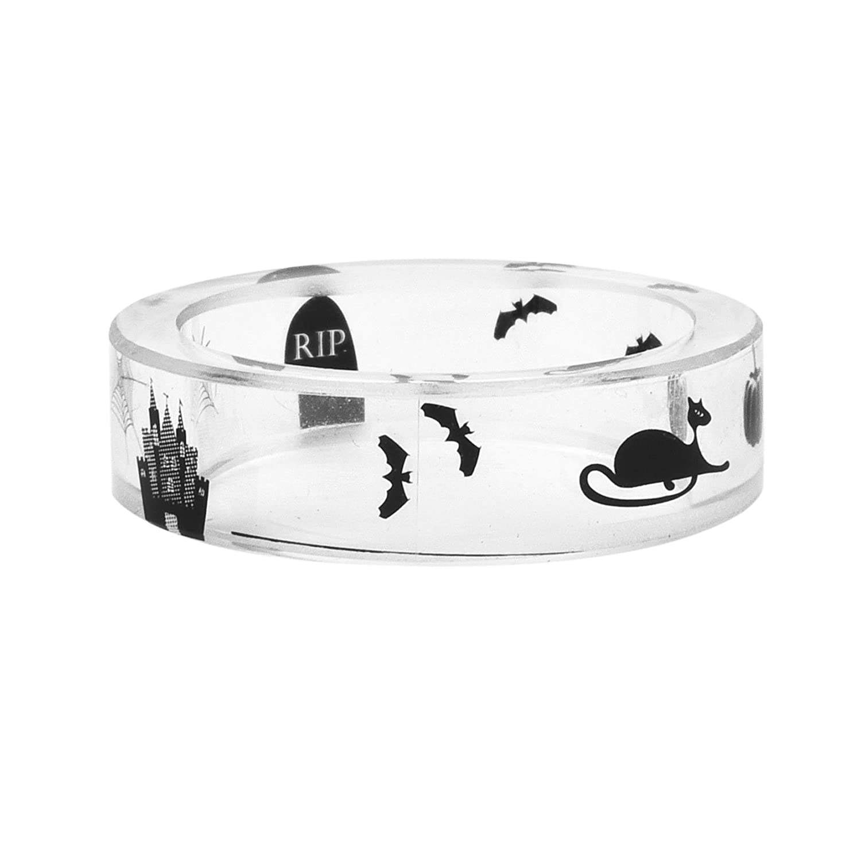 Amazon com: NDJEWELRY Handmade Clear Resin Rings RIP/Bat/Cat/Castle