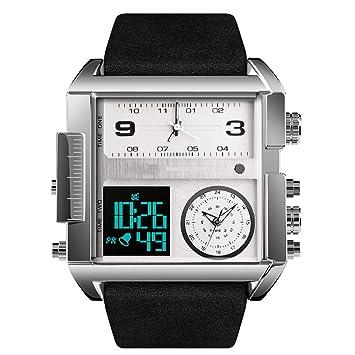 Qi Tai- Cuadrados creativos de múltiples Funciones Retro Relojes Europeos y Americanos Relojes mecánicos a Prueba de Agua para Hombres Grandes con dial ...