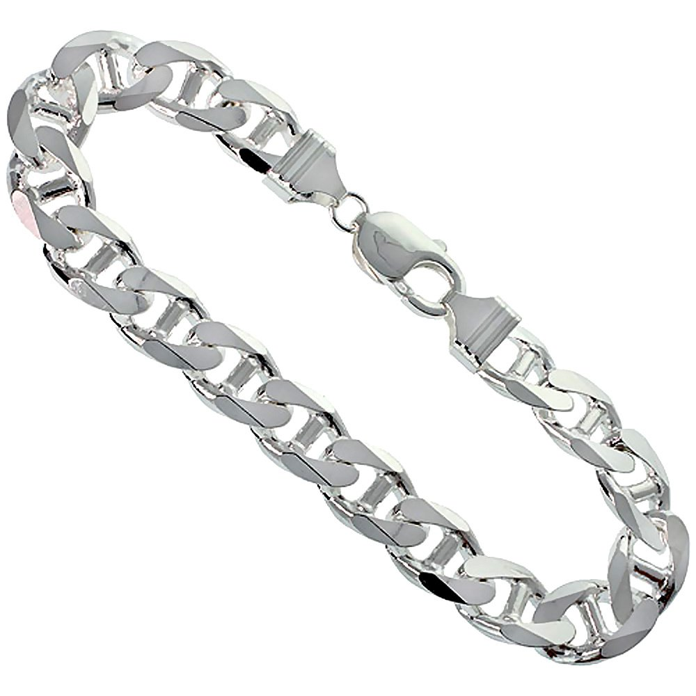 Sterling Silver Flat Mariner Link Chain Necklace 10.6mm Nickel Free Italy, 18 inch