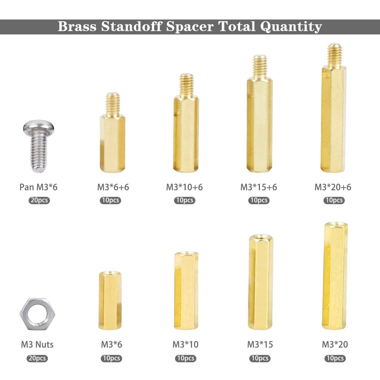 cococity Abstandsbolzen M3 Messing Abstandshalter PCB Hex M/ännlich Weiblich Gewinde Schraubenmutter Stecker auf Buchse Gewinde Messing Pillar Standoff Spacer Sortiment Set