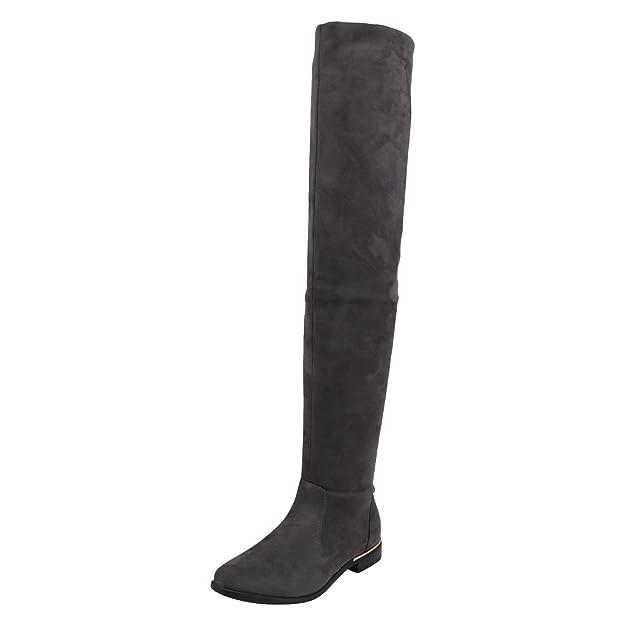 napoli-fashion Gefütterte Damen Schuhe Overknees Metallic Winter Stiefel Leder-Optik Dunkelblau Metallic 39 Jennika UcIdBlv4E