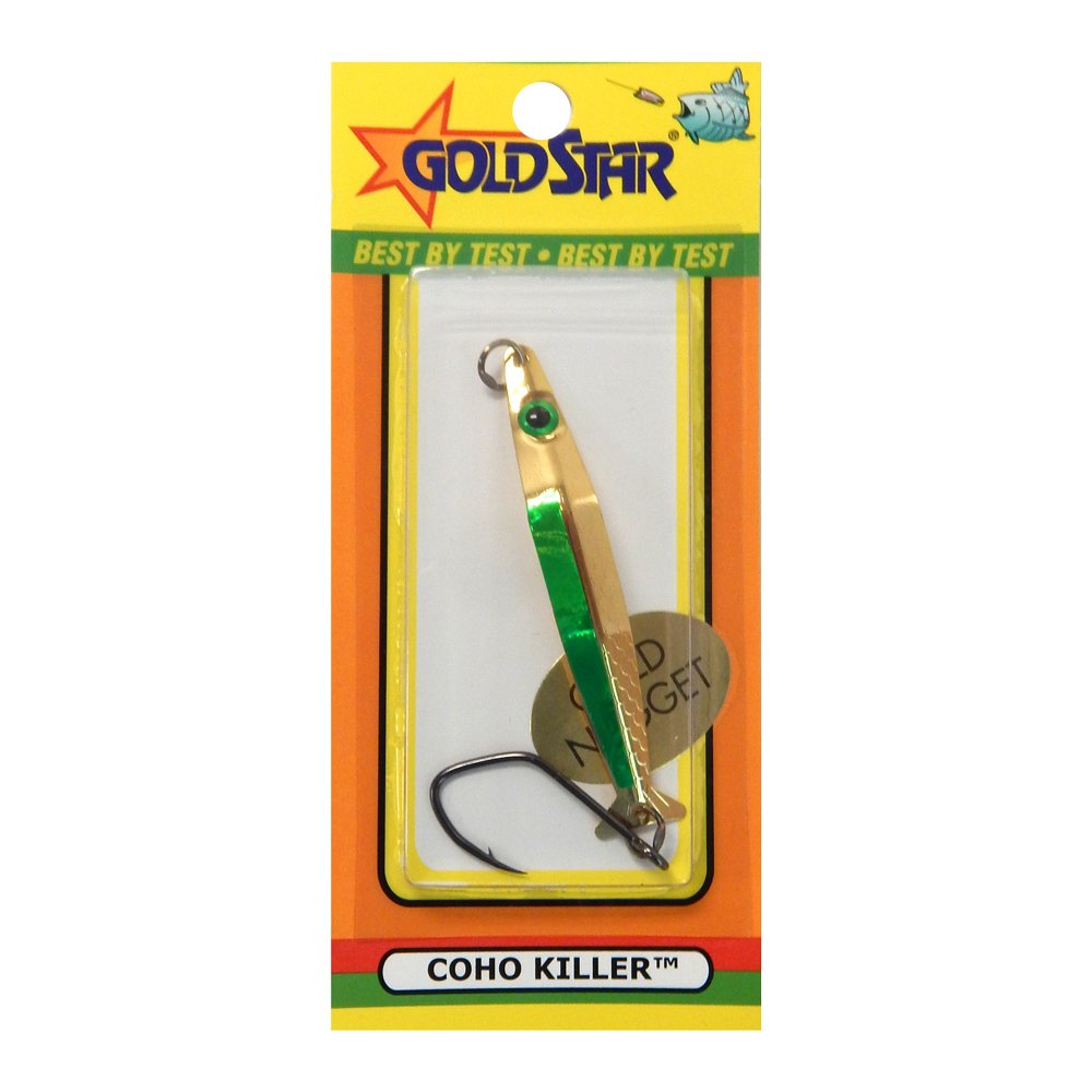 SILVER HORDE COHO Killer Fishing Spoon, Gold/Green Spatter, 3'' by Silver Horde