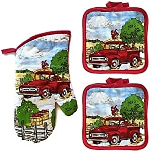 COCO Red Truck with Apples and Rooster Oven Mitt and Potholders, Farm Kitchen Orchard Decor Bundle (3 Piece Set)