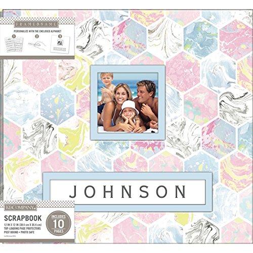 5 K&Co Scrapbook 12x12 Frame-A-Name Marbled Hexagon Scrapbook 12x12 Marbledhexagn ()