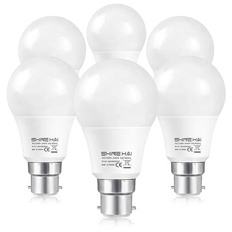 SHINE HAI Bombillas LED B22, Equivalente a 60w, Blanco natural 2700k, 8W BAJO