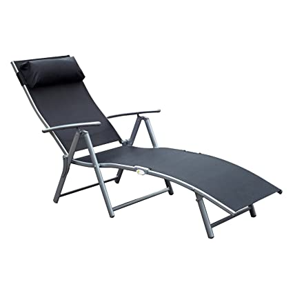 Outsunny Sling Fabric Folding Patio Reclining Outdoor Deck Chaise Lounge  Chair With Cushion   Black