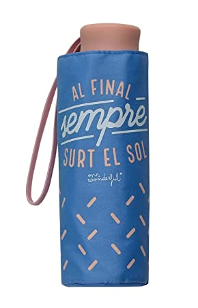 Paraguas Plegable Mr. Wonderful Cat Al Final Sempre surt el Sol Azul: Amazon.es: Equipaje