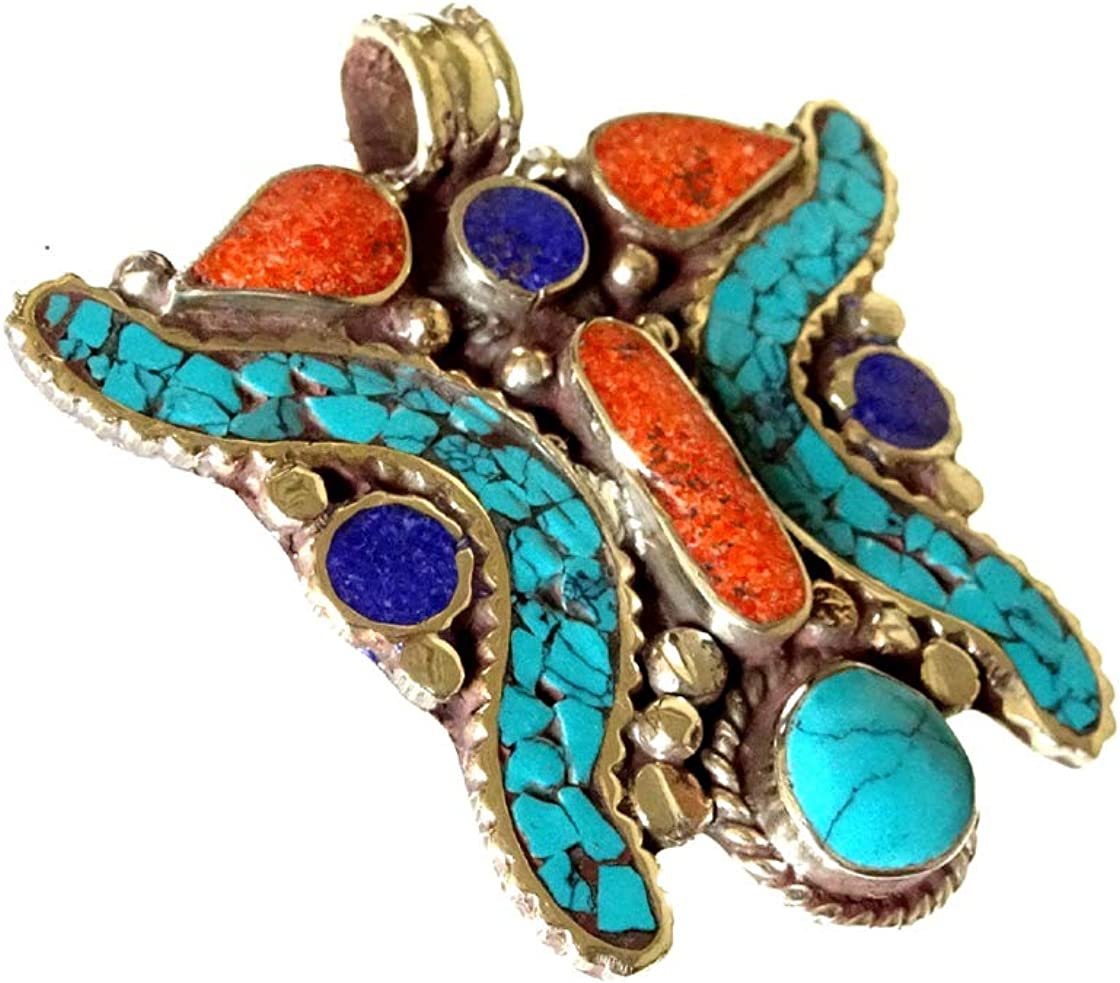 Joyas de moda colgante para mujeres hecha a mano oxidado plata plateado Boho étnico antiguo piedras preciosas turquesa Lapis Coral amuleto curación budista bohemio colgante tibetano