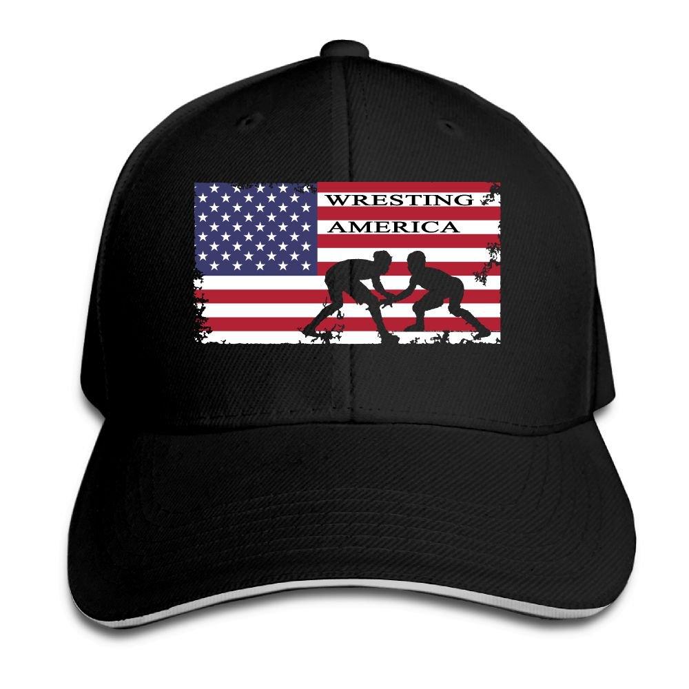 American Flag Wrestling Mens Womens Adjustable Snapback Dad Hats Baseball Caps Sandwich Baseball Cap by YDHO-CAPS