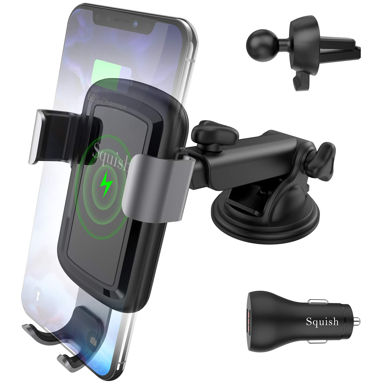 Squish Wireless Car Charger with QC 3.0 Car Charger, 10W 7.5W Qi Fast Charging Car Charger Mount, Adjustable Car Phone Holder Phone Mount for iPhone Samsung S10/S10+/S9/S9+/S8/S7 Samsung Note 10 9 8 7 by Squish