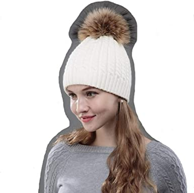 Womens Bobble Hats Ladies Knitted Faux Fur Cable Knitted Winter Pom Pom Black