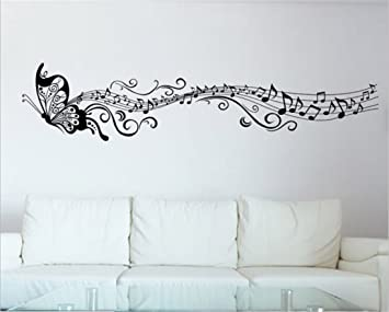Amazon.com: Lanue Vinyl Wall Decals Butterfly & Music Notes Wall ...