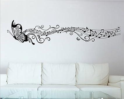 Amazon.com: Lanue Vinyl Wall Decals Butterfly & Music Notes Wall Art ...