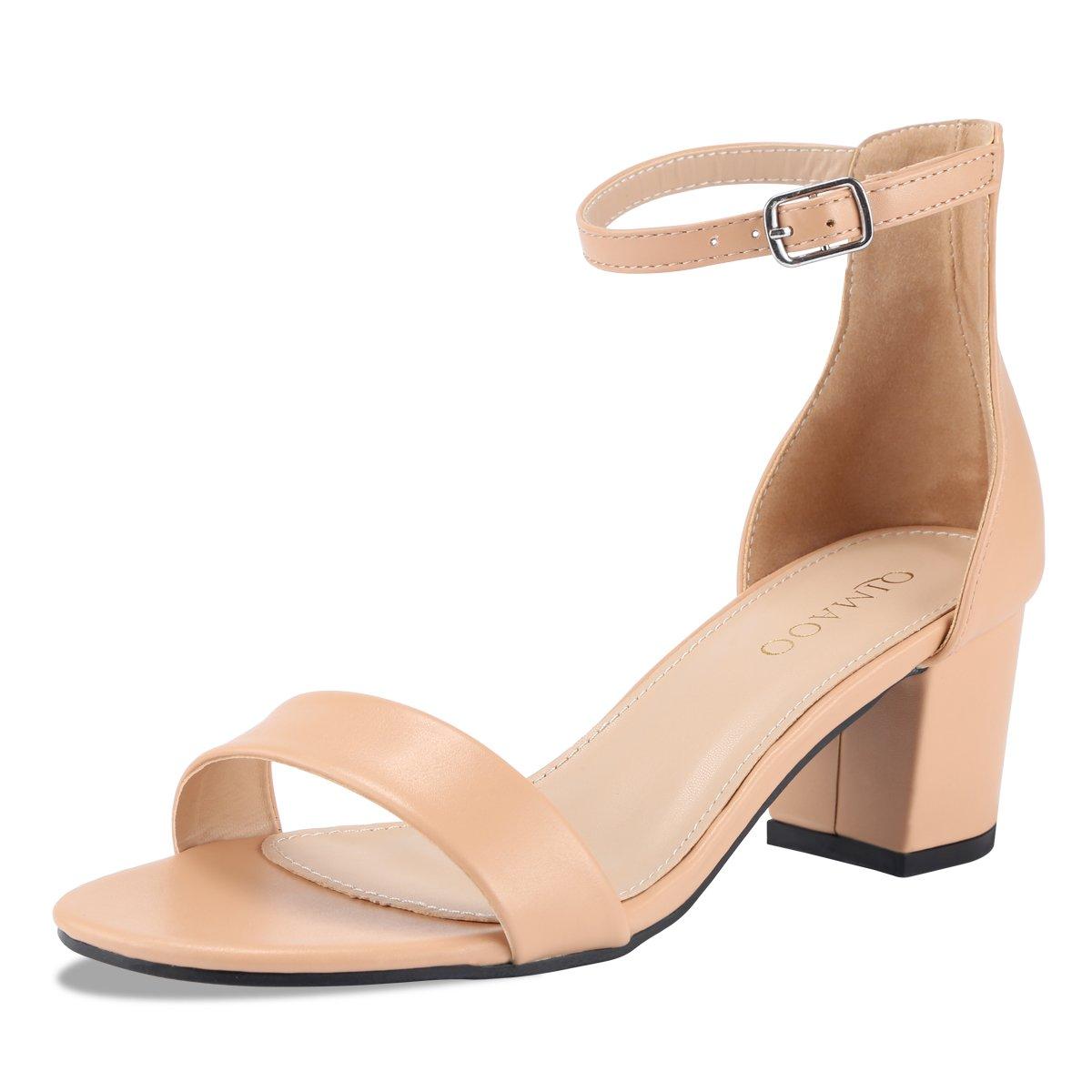 Qimaoo Femme Chaussures Été Sandales à Talon Carré, Carré, Chaussures Soirée à Haut Talon de 6cm pour Mariage Soirée Fête Chair f3ddc0b - latesttechnology.space