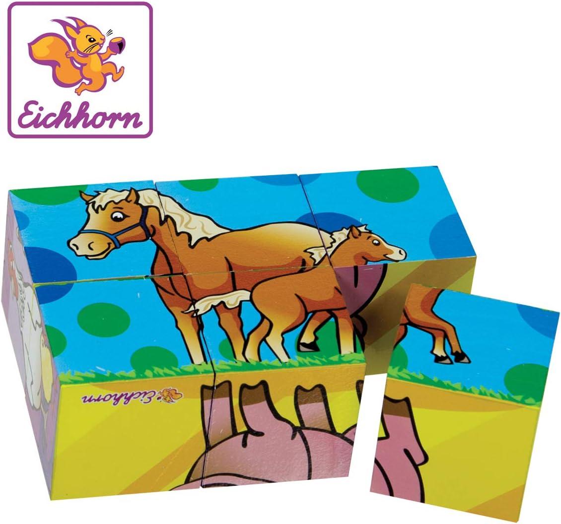 Eichhorn- Puzzle de Cubos Madera 100005481 Juguete, Multicolor (Simba