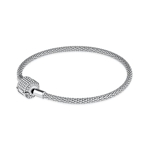 HQCROW CZ Crystal Clasp Bracelet 925 Sterling Silver Women Charm Bangle Bracelets