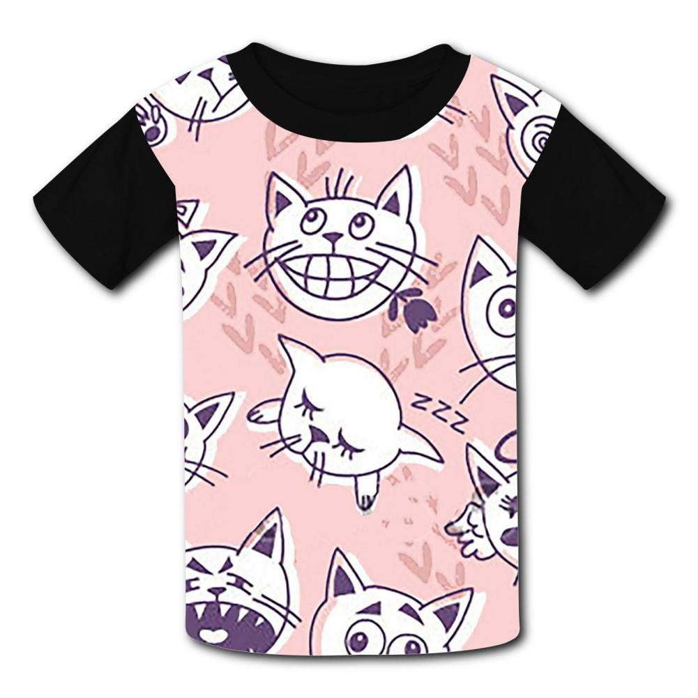 Facial Expression Cat Childrens 3D Summer Short Sleeve Printing T-Shirts