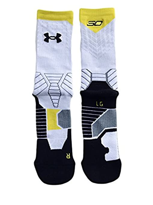 Under Armour Mens Basketball Crew Socks Stephen Curry SC30 White L