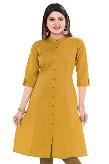787c4fe0bc9 Plus Size Designer Cotton Front-Slit Kurti for Women  Amazon.in  Clothing    Accessories