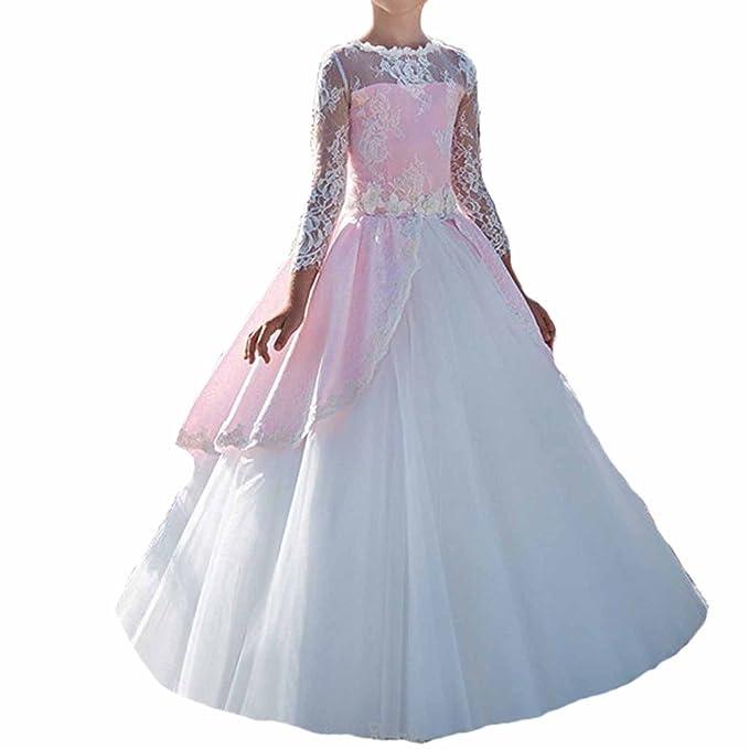 Vestido Comunion Vintage Partido Trajes Encaje Niña Regalos Primera Trajes Vestido Flores Vestidos Para Fiesta (