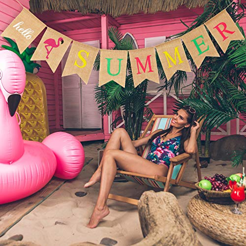 Hello Summer Burlap Banner Rustic Summer Banner with Flamingo Pattern Summer Garland Flag Decoration for Pool Party, Beach Party, Barbecue Party (Color Set 1) -