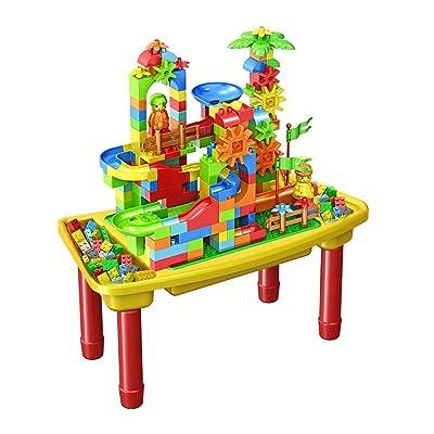 Canness-Games Mesa de Madera for niños Mesa de Juguetes educativos ensamblada Niños y niñas 1-6 años Bebé Juego multifunción Juego Mesa de Arena (Color : Amarillo, tamaño : 29x57x29cm): Hogar