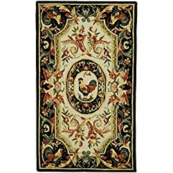 "Safavieh Chelsea Collection HK48K Hand-Hooked Ivory and Black Premium Wool Area Rug (2'9"" x 4'9"")"