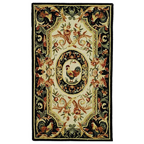 Safavieh Chelsea Collection HK48K Hand-Hooked Ivory and Black Premium Wool Area Rug (2'9