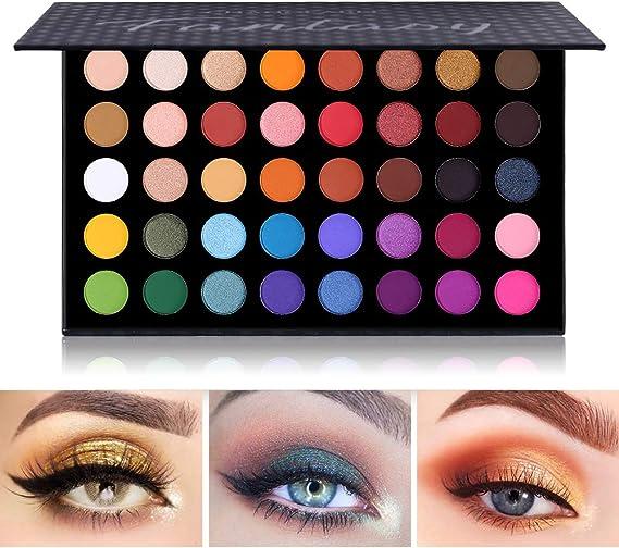 Paleta de sombras de ojos de colores Contorno de maquillaje Paleta de sombras de ojos metálicas Maquillaje Brillo mate 40 colores Altamente pigmentado ...