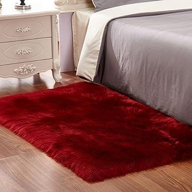CHITONE Faux Fur Sheepskin Area Rug, Baby Bedroom Rugs Fluffy Rug Home Decorative Shaggy Rectangle Carpet, 2x6 Feet, Burgundy