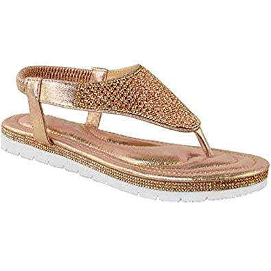 5a4555a3bd9 Fashion Thirsty Heelberry® Womens Ladies Flat Low Wedge Diamante Summer  Sandals Embellished Low Heel Size  Amazon.co.uk  Shoes   Bags