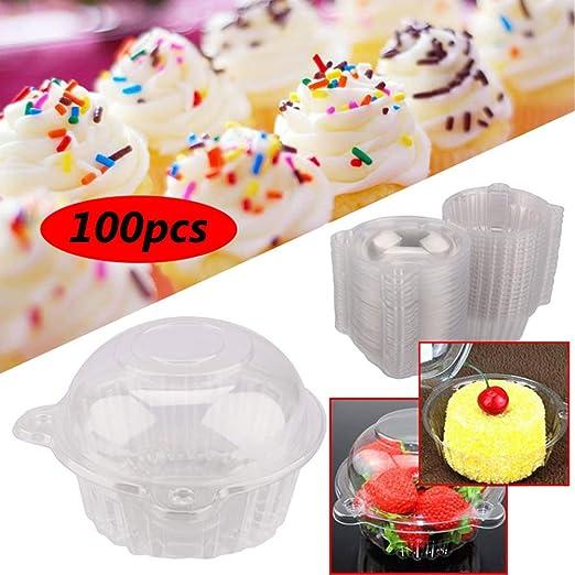 100 unids caja de la magdalena de plástico, solo plástico transparente muffin vainas cajas de pasteles contenedor de fruta 112 mm x 80 mm: Amazon.es: Hogar