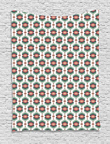 XHFITCLtd Ethnic Tapestry, Aztec Traditional Folk Culture Tribal Vintage Artful Motif, Wall Hanging for Bedroom Living Room Dorm, 60WX80L Inches, Dark Coral Reseda and Hunter Green