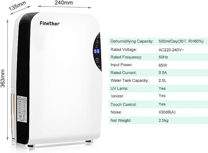 Finether 500 ml/d deshumidificador de aire, deshumidificador ...
