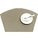 SHACOS Round Table Placemats 70% PVC 30%Polyster Heat Resistant Table Mats Washable (4, Black White Gold)