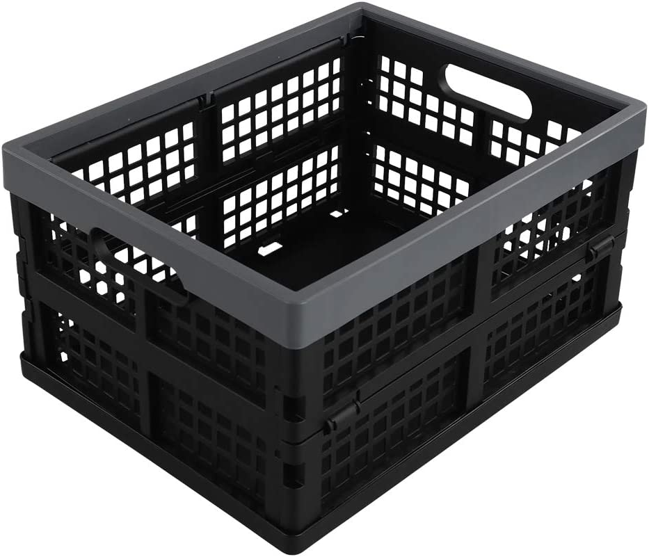 """Anbers Black Plastic Storage Crate, 16 Liter Collapsible Storage Bin/Container, 13.5"""" x 10.3"""" x 7.2"""", 1 Pack"""