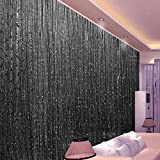 Topixdeals 110 X 110 Inch Rare Flat Silver Ribbon Door String Curtain Thread Fringe Window Panel Room Divider Cute Strip Tassel Party Events (Black)