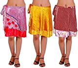 Lot of 3 Wrap-Around Indian Vintage Reversible Sari Magic Skirts Knee Length – 2 Layers - Art Silk