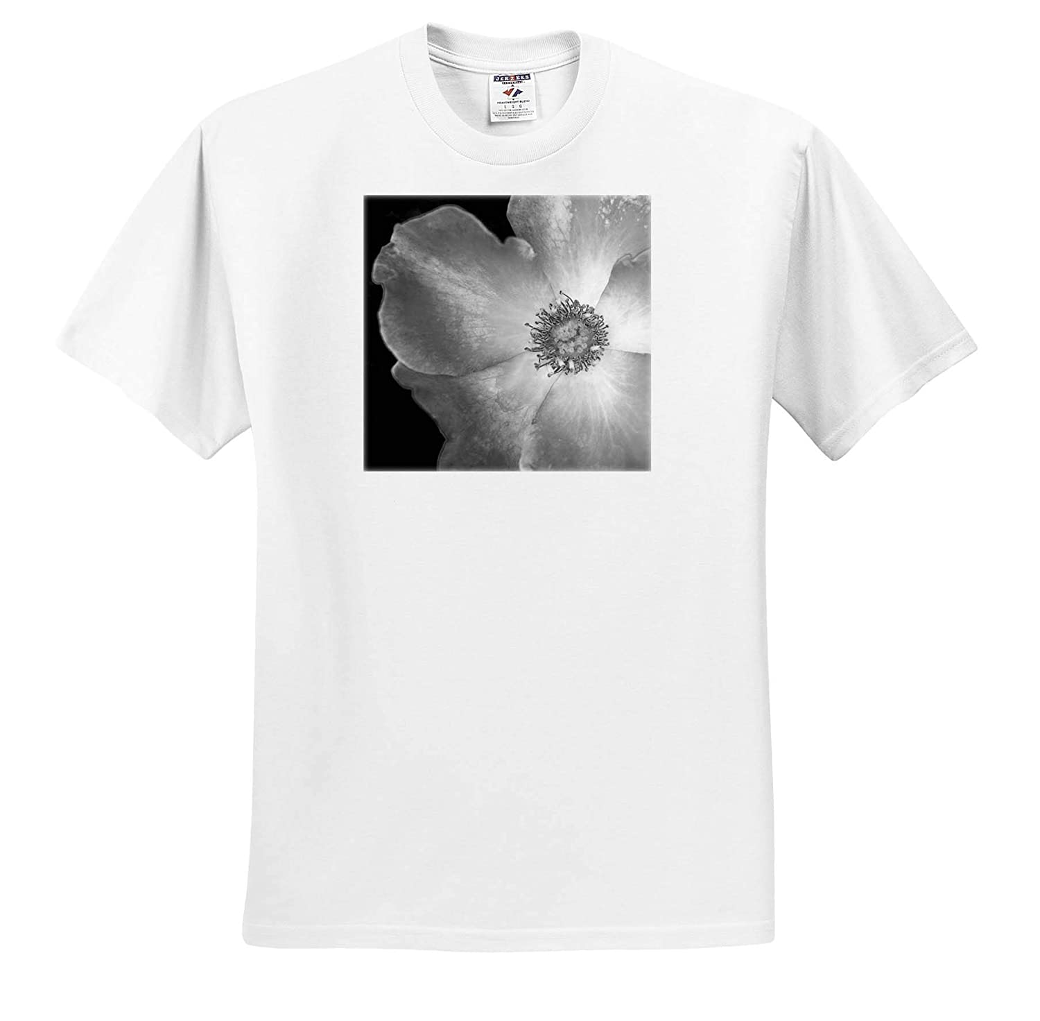 Flowers - Adult T-Shirt XL ts/_312227 3dRose Stamp City Black and White Macro Photograph of a Playboy Rose